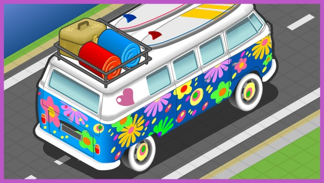 Isometric Rainbow Van In Front View